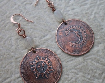 Sun and Moon - Copper Etchings With Moonstone Gemstone Earrings