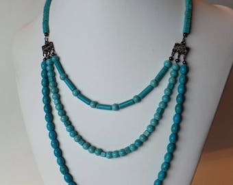 "11"" Three Strand Turquoise Magnesite Necklace"