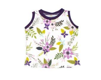 RTS 0-3M Laguna Sprigs Bloom Tank Top, Purple Floral Tank Top, Girls Summer Shirt, Sprigs Blooms Summer Tank Top, Modern Kids Tank Top