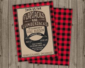 Lumberjack Birthday Invite - Flapjacks & Lumberjacks Birthday - Outdoors Boy Birthday Invite - 5x7 JPG DIGITAL FILE (Front and Back Design)