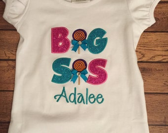 Big Sis Lollipop Candy Shop Embroidered Sibling Shirt or Baby Bodysuit With Turquoise Blue Name Embroidery