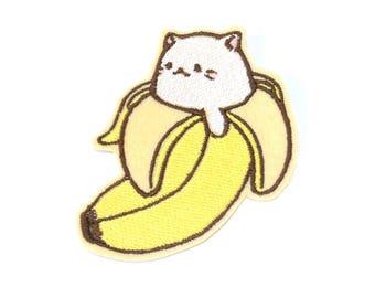 Bananya Cat Banana Kawaii embroidered iron on patch