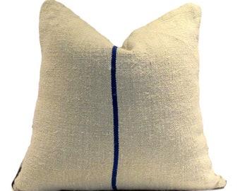 Vintage European Linen Grain Sack Pillow Cover  Single Blue Stripe