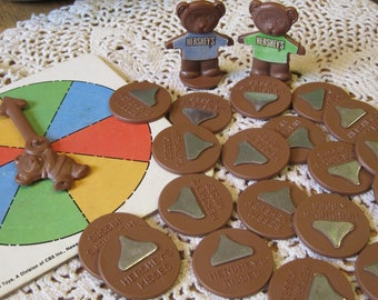 Vintage Game Pieces from a 1983 Hershey Kissed Bear Game