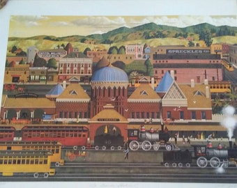 LA Grande Station by Herb Fillmore signed limited edition print, unframed, train station/ Los Angeles/ lithograph /Pullman traincar/ vintage