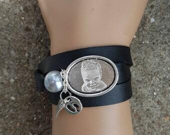 Bracelet trois tours noir à graver