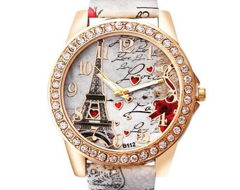 Paris Eiffel Tower Vogue New Women Fashion Bright Faux Leather Strap Watches Ladies Wrist Quartz Watch
