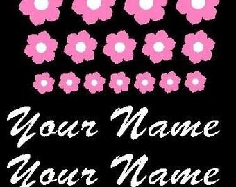 Bike Flower Decal Sticker Name Set