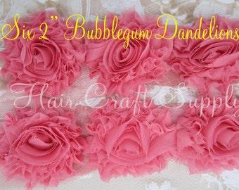 SIX (6) 2 inch Dandelion Shabby Flowers bubblegum pink clips baby headbands frayed shabby