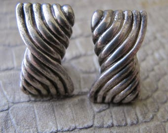 Tiffany & Co. Sterling Silver Twist Earrings, Signed, Date 1984, Stamp 925. 1980's Designer Silver Jewelry. Silver Omega Back Clip Earrings