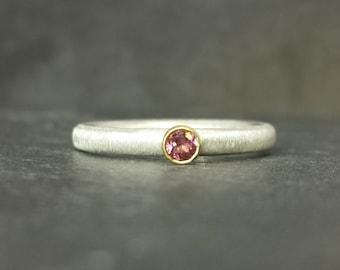 Blush - 9ct 9k gold bezel set tourmaline ring alternative engagement ring, silver skinny band UK