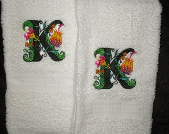 Terry cloth embroidered Hand towel pair -  Jacobean Monogram - more colors available