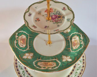 Green and gold cake stand