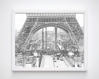 Eiffel Tower Art, Printable Paris Wall Art Decor, Printable Art, Paris Illustration, Paris Wall Prints, Large Wall Art, Large Printables