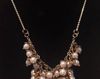 Gold Pearl Cluster Necklace! Pearl Bib Necklace! Pearl Necklace!
