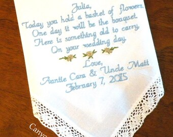 Flower Girl, Wedding Gift,  Embroidered Wedding Handkerchief Flower Girl Wedding Gifts Personalized by Canyon Embroidery