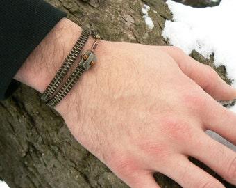 Steampunk Ouroboros Snake Zipper Wrap Bracelet