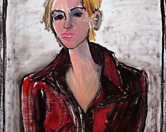 Departraits Painting- Oil on Paper, Female Figure, Detroit Expressionism