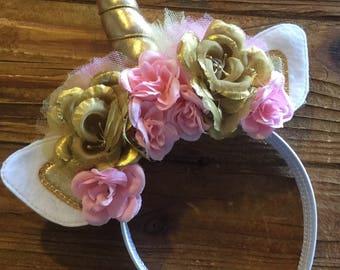 Unicorn Headband  - Unicorn Horn - Unicorn Costume - Unicorn Flower Headband
