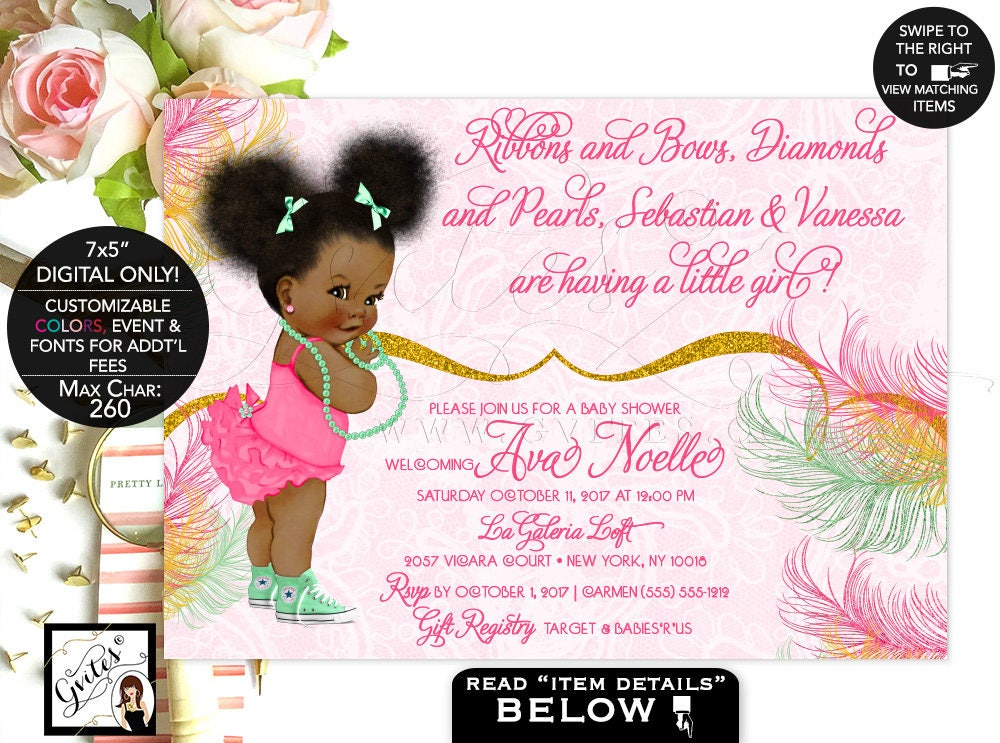 Mint and Gold Baby Shower invitation mint green yellow gold