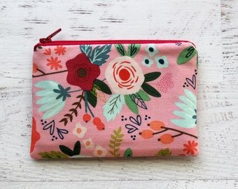 Floral zip pouch - cute zipper pouch - floral fabric - pink pouch - flower print pouch - under 10 gift - bridesmaid gift - floral wallet