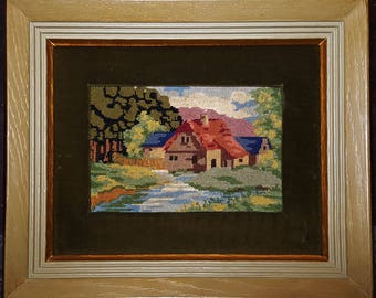 Beautiful Mid Century Hand Made Vintage Needlepoint in Solid Wood frame