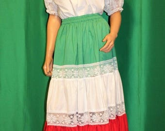 Vintage 70's Boho Hippie Gypsy Peasant Skirt & Blouse Top Outfit Dress Size M/L