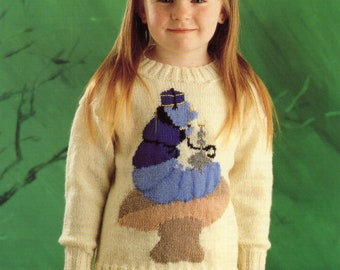 Pre-owned Knitting Pattern Leaflet, Caterpillar Sweater from the Alice in Wonderland Sweater Collection.