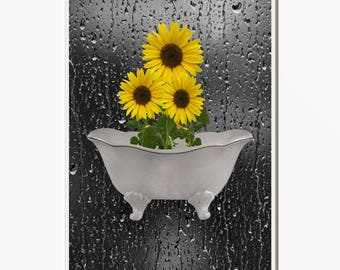 Yellow Gray Home Decor, Sunflower Wall Art, Bathoom Yellow Gray Wall Art Matted Picture