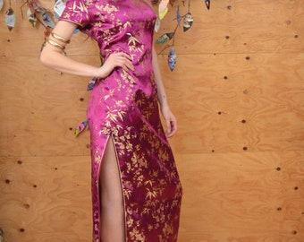 Vintage 60's Hot Pink Brocade Floral Hourglass Asian Cheongsam Dress SZ Small