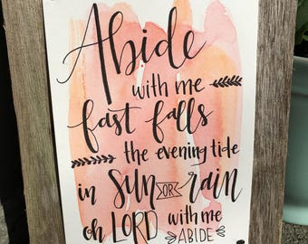 Abide With Me   Hymn Wall Art   Christian Wall Art   Scripture Wall Art   Watercolor   Calligraphy