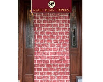 Platform 934 sign with brick wall Magic train express train // platform 9 3 4 printable sign // Not affiliated with TM harry potter hogwarts