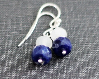 Petite Drop Navy Blue Earrings / Sodalite Snow Quartz Stacked Beads / Sterling Silver Nautical Jewelry