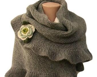 Gray Ruffled Shawl, Woman Scarf, Hand Knit, Warm Winter Accessory, For Her, Crochet Flower, Knit Wool Ruffle Shawl