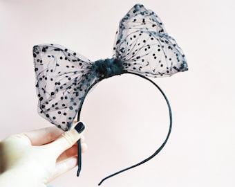 Big Bow headband. Black polka dot headband.