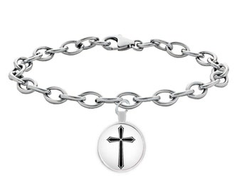 Silver Plated Cross, Bracelet Metal, Cross Bracelet, HandMade Cross, Silver Cross, Small Cross, Spiritual Gift, Mother day gift, Mom Gift