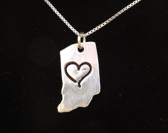 Indiana State Necklace, I heart Indiana necklace, Indiana charm, Small Indiana charm necklace, Hoosier state, I'm a Hoosier