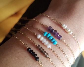 Gemstone bracelet, dainty bracelet, minimalist bracelet, birthstone bracelet, 14k gold filled, bridesmaid bracelet, simple bar bracelet