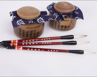 Free Shipping Chinese Calligraphy Material  Goat Weasel Hair Combined Brush Set / JFTB  - Red Sandalwood Handle - 0023LMS