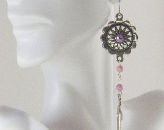 Pink Riverstone Concho Earrings with Tibetan Silver Feathers-Dangle Earrings with Cowgirl Flare