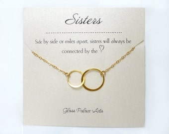 Sister Necklace Gift, Interlocking Circle Infinity Necklace For Sister in Law Gift Jewelry For Wedding, Double Circle Eternity Pendant Gold