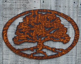 Oak Tree Rusty Metal Wall Art