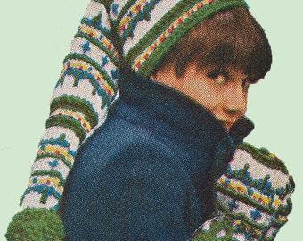 Vintage Knit Ski Hat and Mittens Pattern