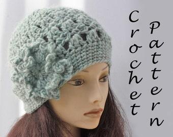 Flower Hat Crochet Pattern, Chunky Winter Hat Pattern, Fast, Easy Pattern, Instant Download, Hat PDF Pattern