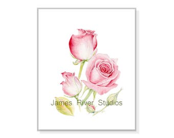 Rose Painting Rose Print Rose Art Rose Watercolor Rose Wall Art Rose Decor Rose Wall Decor Red Rose Painting Pink Rose Watercolor Print Art.