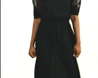 Vintage Black dress with Mesh sleeves with Applique