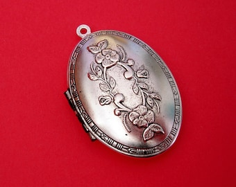 Oval Photo Locket Ox Silver Brass  Flowers Engraved Floral Victorian Style Pendant.