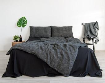 Black stonewashed linen duvet cover with birch pattern, 100% linen