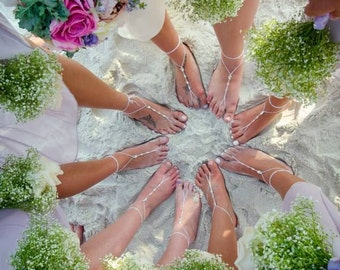 Bridal Barefoot Sandals- Beach Wedding Barefoot Sandals- Foot Jewelry- Bridal Footless Sandals- Barefoot Wedding Sandal- Bridesmaid gift MCC