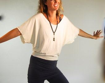 Oversized Short Sleeved Jersey Top - Dolman Sleeve - Wide Neck - Off Shoulder - Organic Clothing